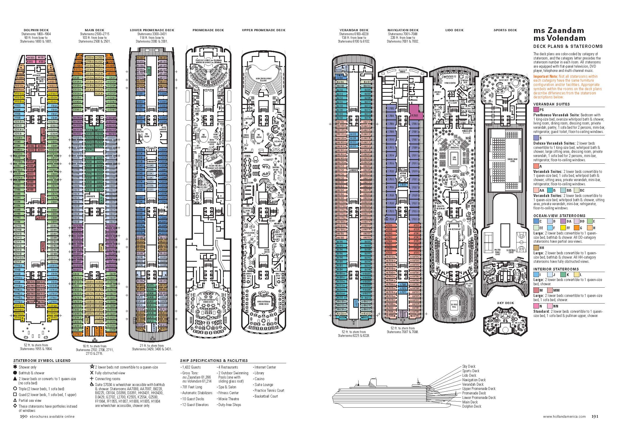 Photo Eurodam Ship Deck Plans Images Pics For Gt Cruise Map America 28