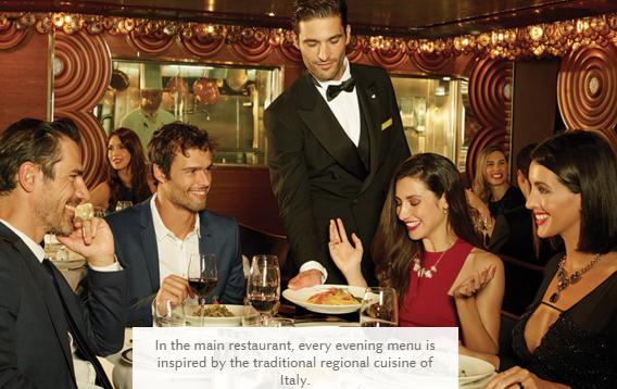 Традиционное итальянское меню на борту лайнера Costa Cruises