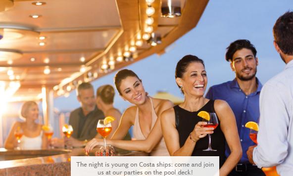 Pool deck, рестораны для молодежи на лайнере Costa